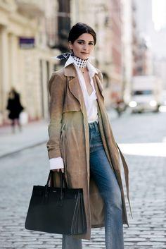 Gestuz coat, Brooks Brothers shirt, Madewell jeans, Céline shoes, and Saint Laurent bag