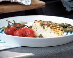 Grilled Halibut with Herb  Caper Vinaigrette