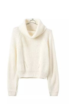 Cream Cropped Turtleneck Soft Sweater