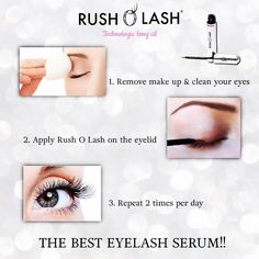 Rush O Lash is the best eyelash enhancement serum! Follow the steps, apply everyday, and after 4-5 weeks you will see amazing results! #cosmetics #eyelashes #eyelashserum #longeyelashes #eyelashenhancer #makeup #antiage #eyelashconditioner #naturaleyelashes #eyebrow #longereyelashes #pestañas #pestañaslargas #cejas #RushOLash #hyaluroicacid #peptides