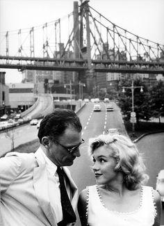 NYC. Marilyn Monroe and Arthur Miller near Queensboro Bridge in 1957 by Sam Shaw. (II)