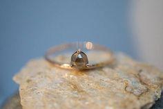 Floating rose cut yellow-gray diamond engagement ring