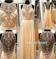 Champagne Round Neckline Chiffon Long Prom Dresses #prom #dress #promdress #dresses #formal