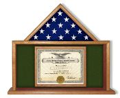 This Army Flag and Certificate Display Case is designed to beautifully display both a folded flag and other memorabilia in one convenient place.