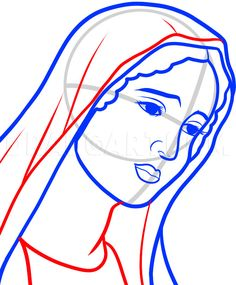 How To Draw Mary, Virgin Mary, Step by Step, Drawing Guide, by Dawn Virgin Mary Painting, Virgin Mary Art, Blessed Virgin Mary, Praying Hands Tattoo Design, Christian Drawings, Mother Daughter Art, Mary Tattoo, Angel Tattoo Designs, Catholic Prayers