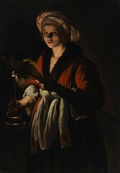 A Young Woman Holding a Distaff before a Lit Candle   Adam de Coster, Belgian, 1586-1643