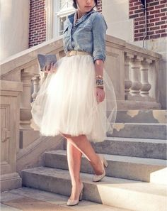 Denim shirt and tulle skirt