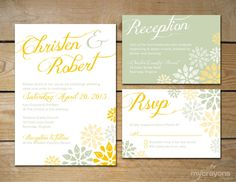 Pom Pom Bouquet Wedding Invitation Suite // DIY Printable // Sage Green and Gold, Yellow. $45.00, via Etsy.