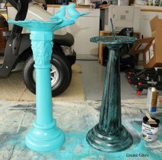 Paint black over blue-green for a faux verdigris finish on concrete or metal.