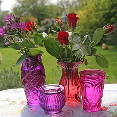 Berry Red Jewel Coloured Votives - Retro to Go Red Jewel, Jewel Colors, Jewel Tones, Colored Glass Vases, Pressed Glass, Candle Lanterns, Flower Pots, Flower Arrangements, Glass Art