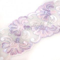 Taśma koronkowa w różowo-fioletowe kwiaty 9cm