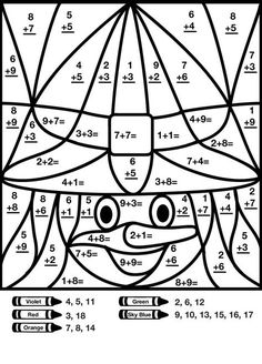 Graphical Works: Mystery Math Picture for Children's to Answer, Guess and Color Math Classroom, Kindergarten Math, Teaching Math, Self Contained Classroom, Math For Kids, Maths For Children, School Worksheets, 1st Grade Math, Math Facts