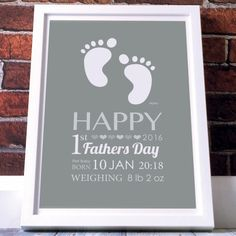 First Father's Day Gift - Personalised Baby Foot Print Poster - the perfect gift for dad's this Father's day Fathers Day Poster, Father And Baby, Diy Gifts For Dad, First Fathers Day Gifts, Perfect Gift For Dad, Baby Footprints, Father's Day Diy, Baby Feet, Personalized Baby