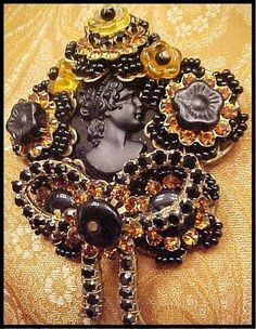 STANLEY HAGLER NYC BIG BLACK CAMEO BROOCH, FLOWERS, RHINESTONES