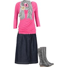 "Ah! Dark denim, flower, and pink! Doesn't get much better =)  ""Modest outfit 30"" by christianmodesty on Polyvore"