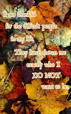 I am thankful for the difficult people in my life. They have shown me exactly who I DO NOT want to be.
