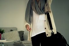 Oversized tshirt, oversized sweater, oversized scarf, tights -- perfect for travel
