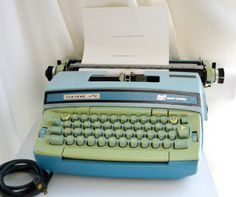 Retro Green and Blue Smith-Corona Coronet  Electric Typewriter with Ink and Correction Cartridges