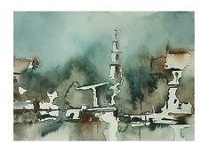Examples Of Art, Watercolor Art, Amsterdam, Projects To Try, Landscape, Awesome, Cityscapes, Watercolours, Painting