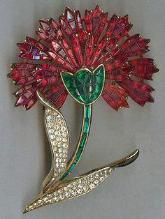Vintage TRIFARI Invisible Set Faux Ruby Rhinestone Carnation Flower Brooch Pin