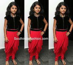 Pretty Kid in Dhoti Style Dress