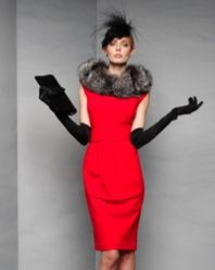 Lady In Red: Slip an elegant cherry red dress under a jacket for desk side, then accessorize it with a fur collar and elbow-length opera gloves after-five for instant glamour. Ross Mayer.