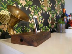 This iPhone Horn Speaker is made by Brawley Made using reclaimed wood and a horn discovered at the Rose Bowl Flea Market in Los Angeles, CA. Rose Bowl Flea Market, Horn Speakers, Custom Furniture, Custom Framing, Horns, Home Goods, Woodworking, Iphone, Modern