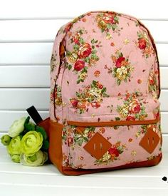 a9cd1e204b1d7 Fashion Vintage Cute Flower Schoolbag Campus Bag Backpack -pink