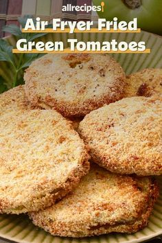 """""""Fried green tomatoes are about as southern as you can get, comfort food at its best. An air fryer will allow you to put a healthier, but still totally delicious, version on the table."""" Air Fryer Dinner Recipes, Air Fryer Recipes, Perfect Fry, Green Tomato Recipes, Fried Green Tomatoes, Fried Chicken, Fries, Southern, Easy Meals"""