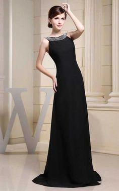 Elegant Black Evermiss 1521Beading Long Evening Gown With Slit