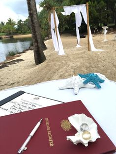 Novotel Twin Waters Resort Beach wedding with Suzanne Riley Marriage Celebrant  Teal star fish wedding day