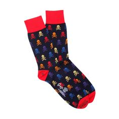 """Skull and Crossbone"" (red) Lightweight Cotton Men's Socks by CORGI HOSIERY (Wales) 