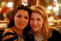 Anna Netrebko and Joyce DiDonato at Bofinger, Paris after I Capuleti e i Montecchi and Paris Opera, 2008.