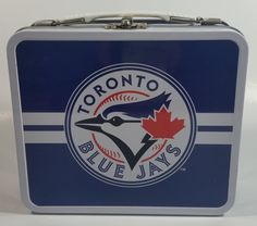 """MLB Baseball Team Toronto Blue Jays """"Ace"""" Mascot Themed Blue Tin Metal Lunch Box Made in China Excellent condition. Toronto Blue Jays Logo, Tin Metal, Metal Lunch Box, Mlb, Baseball, View Photos, Minimal, China, Kitchen"""
