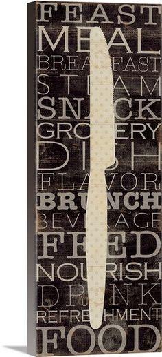 Pela Studio Kitchen Words II Keilrahmen-Bild Leinwand Küche Besteck Deko