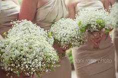 Baby's Breath Bouquets - Khaki Bridesmaids Dresses - Nude Bridesmaids Dresses - Wildflowers - Natural and Organic flower theme - Knoxville TN Florist - Lisa Foster Floral Design - www.lisafosterdesign.com