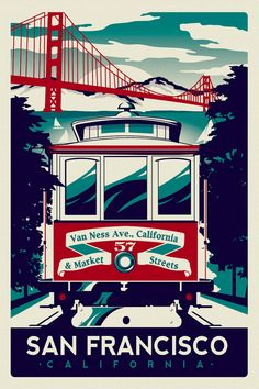 San Francisco Cable Car Trolley Golden Gate Bridge Retro Vintage silk screen printed poster - Etsy (hand screenprinted 3 colors)