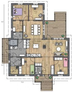 IIRIS 153 A - Kannustalo Future House, My House, Modern House Plans, My Dream Home, Home And Living, Sweet Home, Floor Plans, Construction, Flooring
