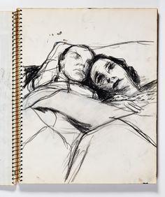 Richard Diebenkorn - Crayon - Page 051 from Sketchbook # 20 - Man and Woman sleeping in Bed Sketchbook Drawings, Artist Sketchbook, Drawing Sketches, Art Drawings, Drawing Tips, Richard Diebenkorn, Figure Painting, Figure Drawing, Painting & Drawing