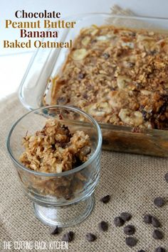 Chocolate Peanut Butter Banana Baked Oatmeal - by Katie at the Cutting Back Kitchen