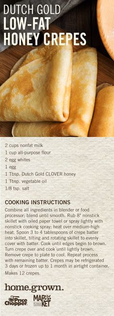 Honey Crepes, courtesy of our Pennsylvania pals at Dutch Gold! Cooking Instructions, Crepes, Hot Dog Buns, Pennsylvania, Food Processor Recipes, Dutch, Artisan, Honey, Gold