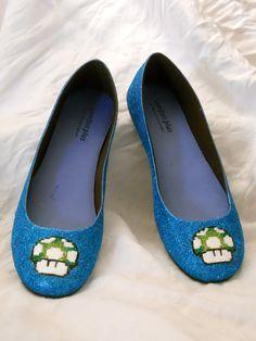 1 Up Mario Mushroom Glitter Shoes. $70.00, via Etsy.
