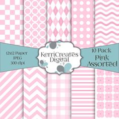 Pink & White, Assorted - Scrapbook Paper by KerriCreatesDigital on Etsy