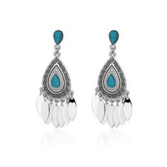 Bohemian feather drop earrings, blue, turquoise and silver, boho chick