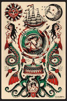 ✔ Tattoo Old School Black Illustrations Flash Art Tattoos, Tattoo Flash Sheet, Body Art Tattoos, Traditional Tattoo Design, Traditional Tattoo Flash, Traditional Mermaid Tattoos, Dessin Old School, Backpiece Tattoo, Sailor Jerry Tattoos