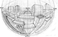 Multiple Point Curvilinear Perspective Drawing Lessons : How to Draw Figures and Buildings and Shapes in 4,5,6 Pt Perspective with Easy Tutorials