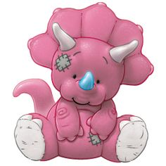 Pudge… the permanently peckish pink Triceratops who chomps all day... but this hungry herbivore loves hanging out with you too!