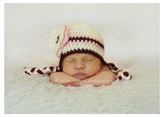Crochet Baby Hat  Girl OffWhite Ear Flap hat with by CarolinaKnots, $13.00