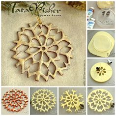 salt-dough-snowflakes DIY - Transform simple salt dough into outstanding homemade Christmas ornaments with this creative idea and your kids will love making them since it looks like doing some cookies. Salt Dough Crafts, Salt Dough Ornaments, Homemade Ornaments, Homemade Christmas, Snowflake Ornaments, Diy Christmas Ornaments, Holiday Crafts, Paper Snowflakes, Snow Flakes Diy