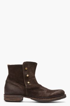 FIORENTINI + BAKER Dark Brown Suede Buttoned Eternity Eta Boots